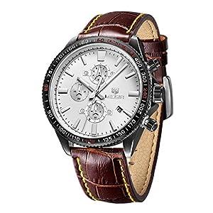 Megir 3001 Men's Chronograph Leather Strap Waterproof Watches Brown&Silver