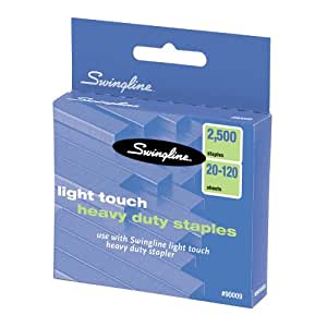 Swingline Heavy-Duty Staples for 90010 LightTouch Stapler, 0.625-Inch Leg Length, 120 Page Capacity, 2500 per Box (90009)