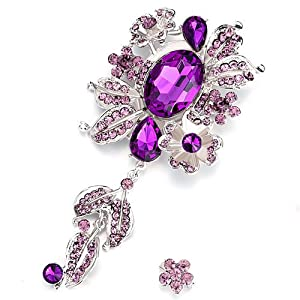 Pugster Vintage February Birthstone Amethyst Crystal Floral Dangle Brooches And Pins