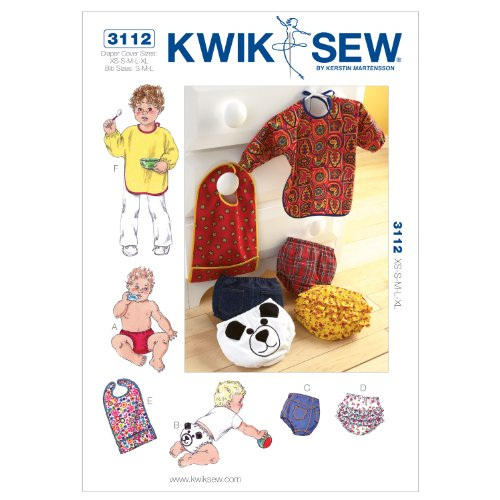 Kwik Sew K3112 Diaper Covers And Bibs Sewing Pattern, Size Diaper Cover Xs-S-M-L-Xl
