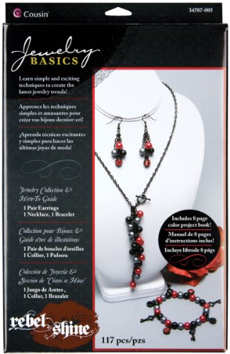 Cousin 34707005 Rebel Shine Beading Jewelry Collection Kit, Black