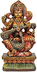 Exotic India Exotic India Goddess Saraswati South Indian Temple Wood Carving