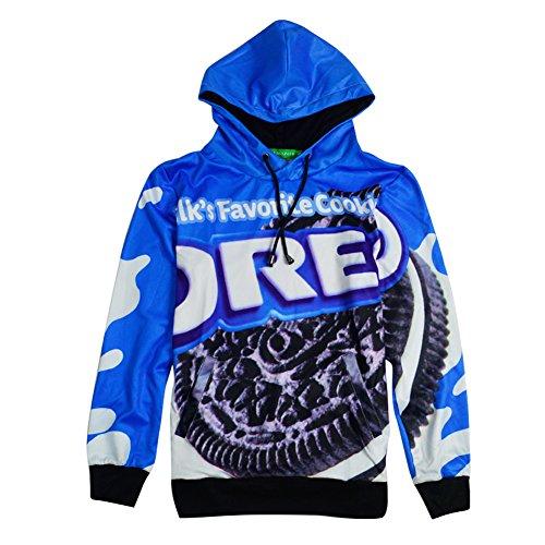 CHIC Pullovers Cookies Oreo Men hip hop 3d Swag Sweatshirt Sport Suit Hoodies (L)