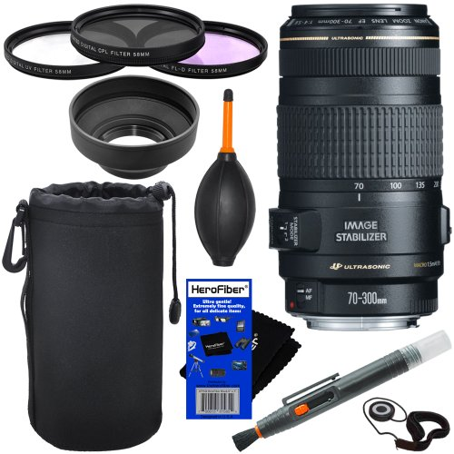 Canon Ef 70-300Mm F/4-5.6 Is Usm Telephoto Zoom Lens Digital Slr Cameras + 10Pc Bundle Deluxe Accessory Kit