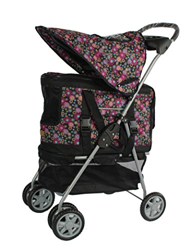BestPet New Ultimate 4 In 1 Pet Stroller Carrier Car Seat Dog House Fashion Flower