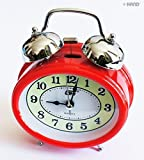 Q8917 Extremly Silent Quartz Twin Bell Metal Oval Shape Alarm Clock - assorted colours