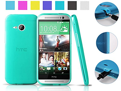 Koppu@ Htc One Mini 2 (2014) Case (Turquoise) (Inbuilt Dust Plug For Earphone Jack And Charging Port) Slim Fit Semitransparent Tpu Frosted Soft Phone Cover Case (Turquoise)