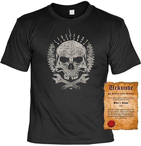 Camicia biker-Gothic-Live Fast-T-shirt per vera Kerle con possesso Urkunde nero XXXXXL