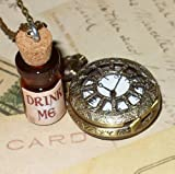 Alice in Wonderland Tea Party Steampunk pocket watch necklace-Drink me tea party bottle-owm