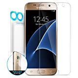 Galaxy S7 Screen Protector, Maxboost [Liquid Skin] Samsung Galaxy S7 Screen Protector [Ultra Soft] Thin Film Set [Curved Surface Adhere] - FULL Front+Back Film and Case Compatible Front Film
