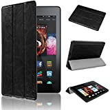 """Kindle New Fire 7 2015 Slim Case - Swees® Ultra Slim Pu Leather Magnetic Case Cover for Amazon Kindle Fire 7 Inch 7"""" Tablet (Only Fit 5th Fifth Generation 2015 Release Gen 5) Black"""