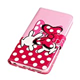 Fashion Cute Cartoon Pattern Pink Bow Bowknot Hand Wallet Flip Case Folio PU Leather Stand Cover with Card Slots for Nokia Lumia 630 635 ( Not Fit for Smooth Back Cover Version ) + Free Lovely Gift