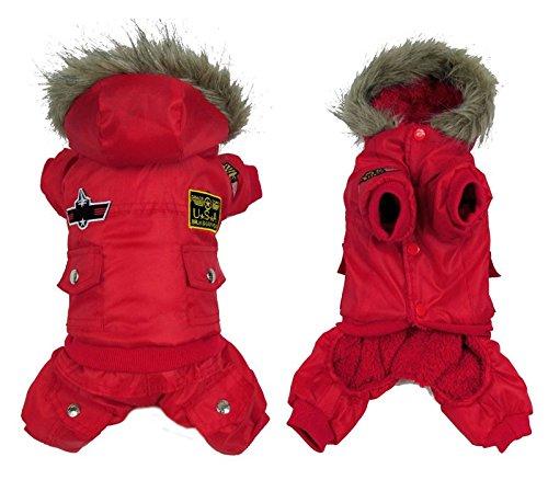 Pet Cat Dog Air Force Man Pilot Fleece Lining Coat Jumpsuit For Medium Large Dogs Red 4XL