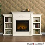 Holly & Martin Fredricksburg Electric Fireplace with Bookcases - Ivory by Holly & Martin