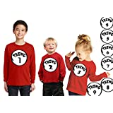 OCPrintShirts 3311 RS Toddler Long Sleeve Thing 1 Dr Seuss Halloween T-Shirt 5T Red