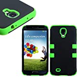"myLife (TM) Black and Lime Green - Smooth Color Design (3 Piece Hybrid) Hard and Soft Case for the Samsung Galaxy S4 ""Fits Models: I9500 I9505 SPH-L720 Galaxy S IV SGH-I337 SCH-I545 SGH-M919 SCH-R970 and Galaxy S4 LTE-A Touch Phone"" (Fitted Front and Back Solid Cover Case + Internal Silicone Gel Rubberized Tough Armor Skin + Lifetime Warranty + Sealed Inside myLife Authorized Packaging) ""ADDITIONAL DETAILS: This three layer Galaxy S4 armor skin gel fit together case is made of grip easy smooth silicone and hardshell plates that slide in to your pocket easily yet won"