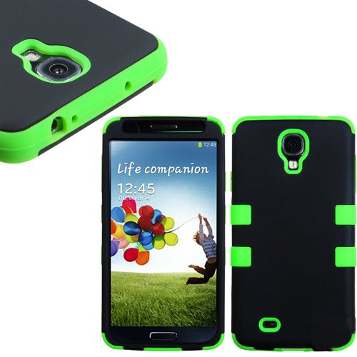 "Mylife (Tm) Black And Lime Green - Smooth Color Design (3 Piece Hybrid) Hard And Soft Case For The Samsung Galaxy S4 ""Fits Models: I9500, I9505, Sph-L720, Galaxy S Iv, Sgh-I337, Sch-I545, Sgh-M919, Sch-R970 And Galaxy S4 Lte-A Touch Phone"" (Fitted Front A"