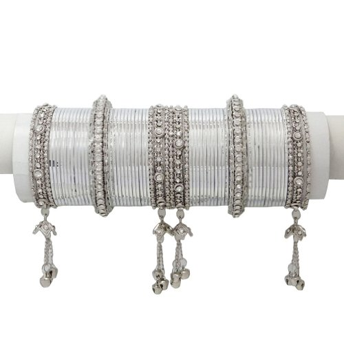 Silver Tone CZ Bangle Kada Set Indian Party Wear Costume jewellery SIZE 2*6