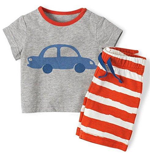 "Phoebe cat ""Car"" Little Boy's Cotton Two-piece Tshirts Shorts Pajama Set 18M"