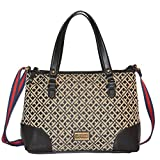 Tommy Hilfiger Canvas Crossbody Bag Tote Handbag Purse Black Gray