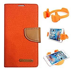 Aart Fancy Wallet Dairy Jeans Flip Case Cover for MotorolaMotoE (Orange) + Flexible Portable Mount Cradle Thumb OK Designed Stand Holder By Aart Store.