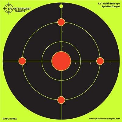 "10 Pack - 12"" Multi Bullseye Splatterburst Target - Instantly See Your Shots Burst Bright Florescent Yellow Upon Impact!"