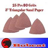 """Pack of 25 80 Grits Sand Paper 3"""" Triangular 25 Sandpaper Oscillating Multi Tool for Fein Multimaster Dremel Sand Paper Voss"""