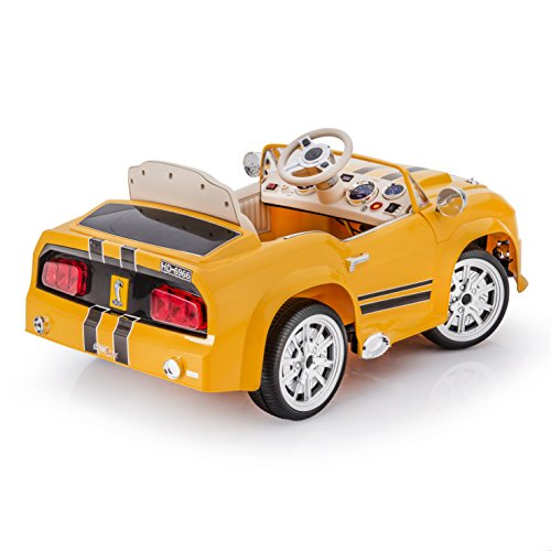 sportrax mustang style gt5000 kids ride on car battery powered remote control yellow