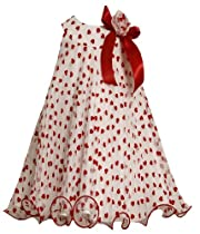 Bonnie Jean Girls 2-6X Sleeveless Heart Crystal Pleat Dress (2T, Red)