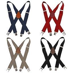 Bundle Monster 4pc Plain Colored Design X-Back Adjustable Clip Unisex Suspender