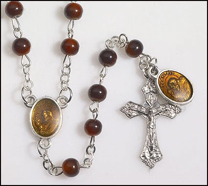 Blessed By Pope Benedit XVI Brown Glass Beads Rosary Padre St Pio with Dangle Medal Rosary
