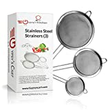 Gypsy's Kitchen Fine Mesh Strainer- Set of 3. Use As Quinoa Strainer, Food Sieve, Kitchen Strainer, Spaghetti Strainer, Flour Sifter and Tea Strainer. Eat Healthier Today.