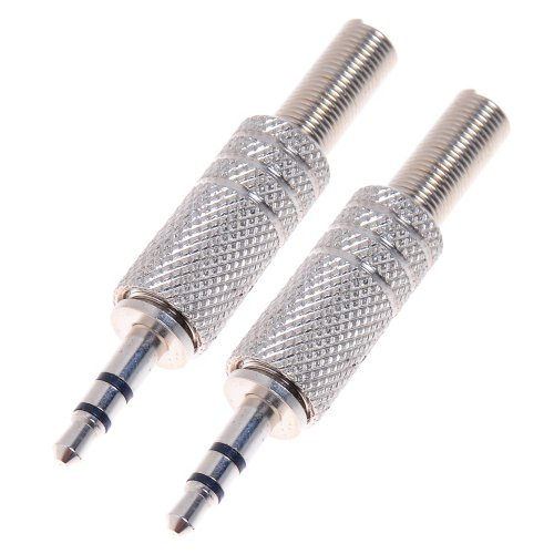 "2Pcs 3.5Mm 1/8"" Male Stereo 3 Pole Headphones Plug Convert Adapter Metal Audio Connector Soldering & Spring"