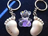 KBF52097 foot pair keychain (accompay you to ends of the earth) with a cute hand painted bear - Gift for couples