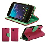 GMYLE (TM) Hot Pink and Robin Egg Blue PU Leather Folio Wallet Magnetic Flip Pouch Stand Case Cover for LG Google Nexus 4 E960 (with Money & Card slots)
