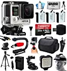 GoPro HERO4 Hero 4 Black Edition 4K Action Camera Camcorder with Ultimate Accessory Bundle includes 32GB MicroSD + 3x Extra Batteries + Home & Car Charger + Card Reader + Large Case + Action Stabilizer Hand Handle + Full Size Tripod + Car Suction Cup Mount + LED Video Light + Head Helmet Strap + Dust Cleaning Kit(CHDHX-401)