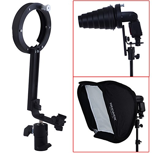 Neewer Flash Softbox Beauty Dish L-type Speedlite Bracket Mount with Adjustable Cold Shoe for Bowen Mount Accessories such as Canon Nikon Flash Units