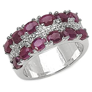 3.00 Carat Genuine Ruby Ovals Sterling Silver Ring