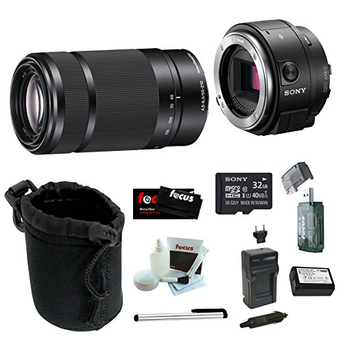Sony-Alpha-QX1-ILCE-QX1B-QX1B-Smartphone-Attachable-Interchangeable-Lens-Style-Camera-Sony-55-210mm-F45-63-Lens-Sony-32GB-C10-microSDHC-Wasabi-NP-FW50-Battery-w-Charger-Accessory-Bundle