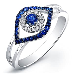14k White Gold Split Shank Diamond and Sapphire Evil Eye Ring (0.06cttw, IJ, I1-I2)