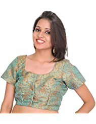 Exotic India Aqua-Sea Brocaded Choli From Banaras With Woven Paisleys - Blue