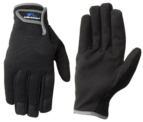 Wells Lamont 7700M Synthetic Suede Leather Glove, Velcro Closure, Black, Medium