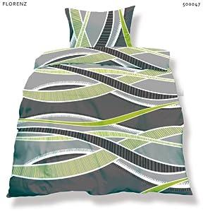 Bettwäsche Garnitur Microfaser 2-teilig Grösse 155 cm x 220 cm / aqua-textil / Living / Design Florenz, Farbe grau, grün