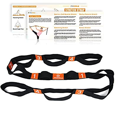 PROCIRCLE® Yogagurt - 4cm Breite - Stretchgurt mit Mehreren Grip Loops - Ideal für Heißes Yoga, Körperliche Therapie, Größere Flexibilität & Eignung-Training