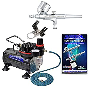Master Airbrush Multi-purpose Gravity Feed Dual-action Airbrush Kit with 6 Foot Hose and a Powerful 1/5hp Single Piston Quiet Air Compressor