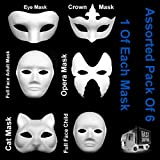 Assorted Pack Of 6 Face Masks White Eye Cat Opera Fancy Dress Masquerade To Paint (1 x Full Face Adult, 1 x Full Face Child, 1 x Eye Mask, 1 x Opera Mask, 1 X Crown Mask, 1 x Cat Mask)