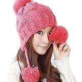 全11色 ざっくり編み の かわいい ニット帽 耳までポカポカ ボンボン付きで可愛さアップ (10.ニット帽 ピンク)