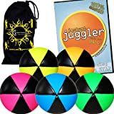 Flames N Games ASTRIX UV Thud Juggling Balls set of 5 (Lots Of Colour Choices) 6 Panel Leather Juggling Ball Set + INSTANT Juggler DVD of Tricks & Travel Bag! (Mix Of colours)