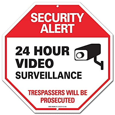 "Video Surveillance Sign - Security Alert - No Trespassing Sign - ""Legend - Large 12 X 12 Octagon Rust Free 0.40 Aluminum Sign"
