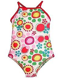 Bunz Kidz - Baby Girls Flower Dot 1 Piece Swimsuit, White, Multi 35166-12Months
